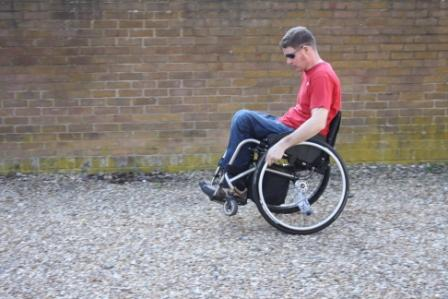 Wheelchair Back Wheel Balance over Gravel