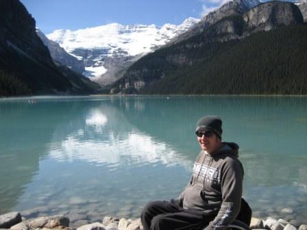 Wheelchair user at Lake Louise