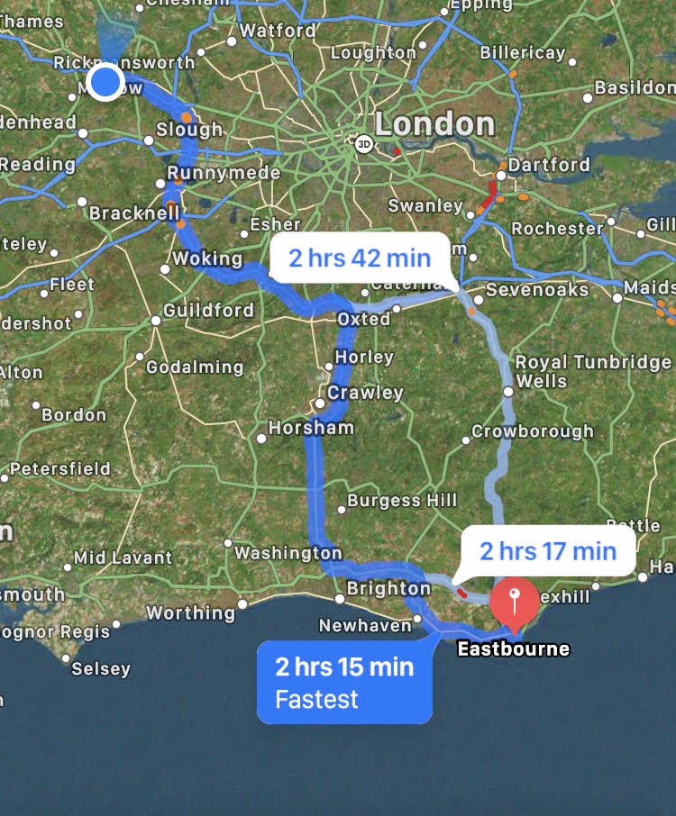 Route to Eastbourne for wheelchair skills training.